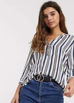 JDY Star 3/4 sleeve striped top-White