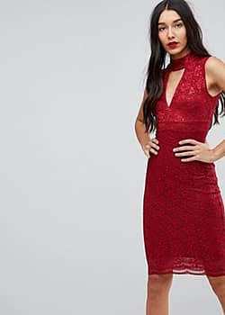 Jessica Wright Choker Neck Bodycon Dress-Red