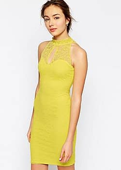 Jessica Wright High Neck Lace Dress-Yellow