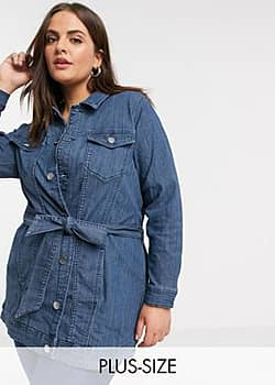 Junarose belted denim jacket in blue