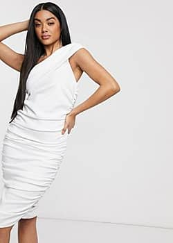 Laced In Love asymmetric pencil dress in white