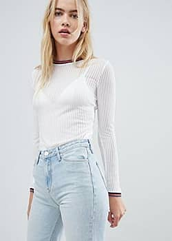 Lee Ribbed Long Sve Top with Sports Neckline-White