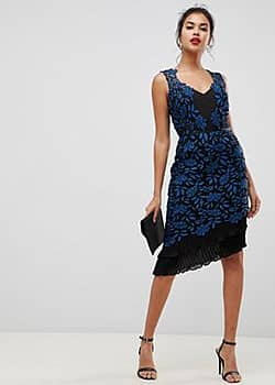 Lipsy allover lace bodycon dress with frill hem in print-Multi