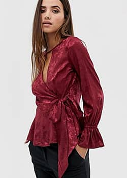 Lipsy jacquard blouse with wrap detail-Pink