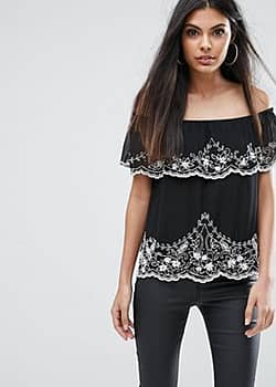 Lipsy Off Shoulder Top With Beading-Black