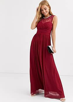 Lipsy ruched maxi dress with lace yolk and embellished neck in berry-Red