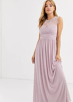 Lipsy ruched maxi dress with lace yolk and embellished neck in lavender-Purple