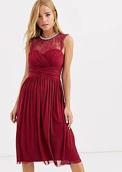 Lipsy ruched midi dress with lace yolk and embellished neck in berry-Red