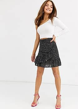Lipsy ruffle tie side mini skirt in polka print-Multi