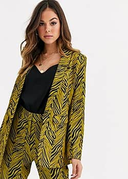 Liquorish suit blazer co ord in gold and black abstract print-Multi