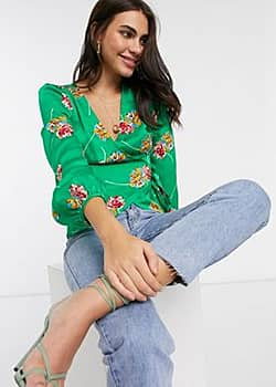 Liquorish tie blouse in green floral