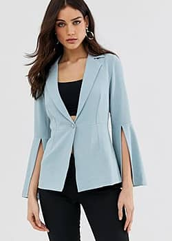 Little Mistress peplem sleeve blazer-Blue
