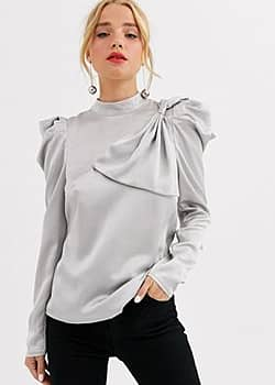 Little Mistress satin top with statement shoulders and bow detail in grey