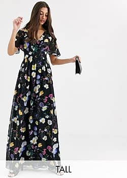 Little Mistress floral kimono maxi dress-Multi