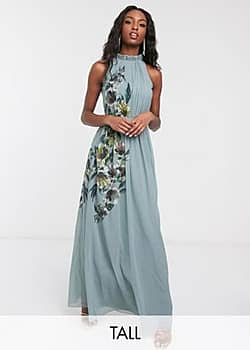 Little Mistress high neck maxi dress with floral detail in blue