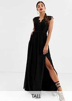 Little Mistress lace detail maxi dress-Black