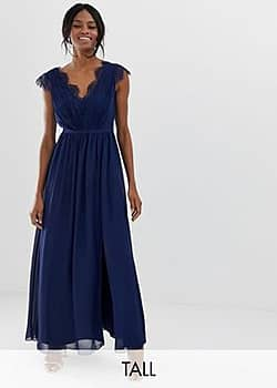 Little Mistress maxi dress with lace detail and side split-Navy
