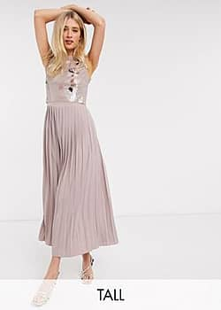 Little Mistress midi skater dress with embellished lace in mink-Pink