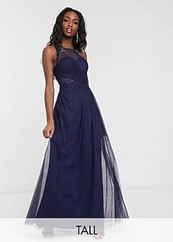 Little Mistress pleat maxi dress with lace and embellishment detail in navy
