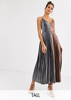 Little Mistress pleated contrast midaxi dress in metallic-Multi
