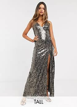 Little Mistress strappy sequin maxi gown in copper-Gold