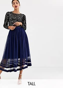 Little Mistress tulle midi skirt-Navy