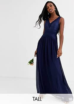 Little Mistress v neck maxi dress-Navy