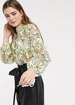 Lost Ink top with tie cuffs and back in floral organza-Yellow