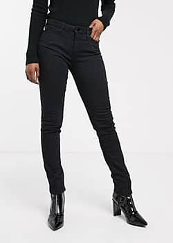 Love Moschino embroidered logo skinny jeans-Black