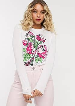 Love Moschino floral graphic print long sleeved t-shirt-White