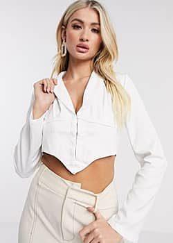 Love & Other Things corset detail cropped shirt in white