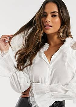 Love & Other Things lace tiered sleeve blouse in white