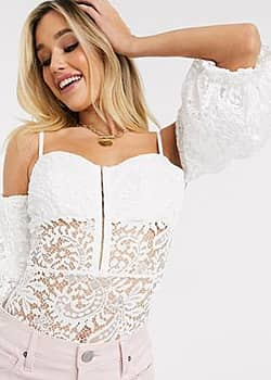 Love Triangle off shoulder lace body suit with baloon sleeve-White