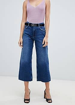 Mango cropped jeans-Navy