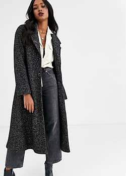 Mango longline button front coat in black