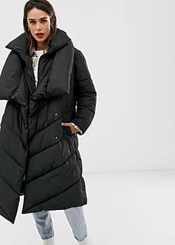 Mango longline padded jacket in black