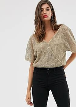 Mango sheer v neck top in beige-Grey