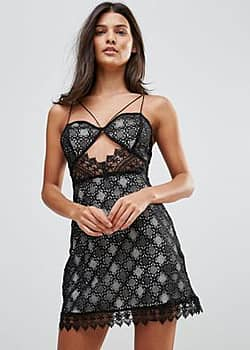 Millie Mackintosh Notting Hill Lace Cut Out Slip Dress-Black
