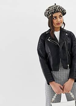 Miss Selfridge biker jacket in black faux leather