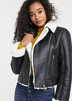 Miss Selfridge contrast faux fur aviator coat in black