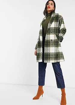 Miss Selfridge double breasted coat in check-Multi