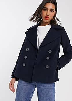 Miss Selfridge double breasted pea coat in navy
