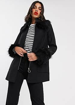 Miss Selfridge faux fur trim duffle coat in black