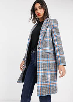 Miss Selfridge longline coat in check-Multi