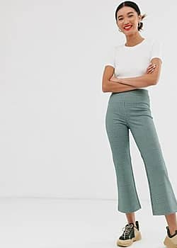 Monki check print jersey flare trousers in multi