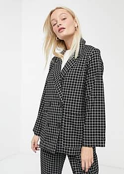 Monki co-ord check double breasted blazer in black