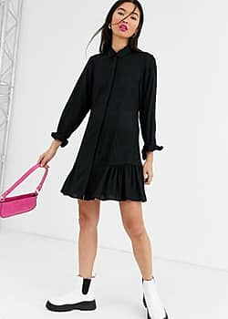 Monki mini shirt dress with long sleeve in black