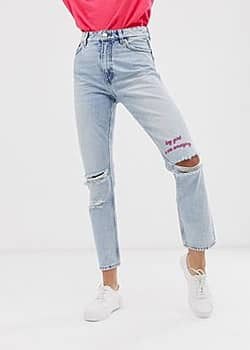 Monki mom jeans with destroy-Blue