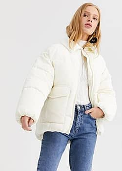Monki short puffer jacket with cord blockings in cream