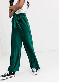 Moon River velvet cord tie waist wide leg trousers-Green